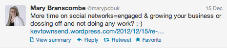 Tweet from Mary Branscombe